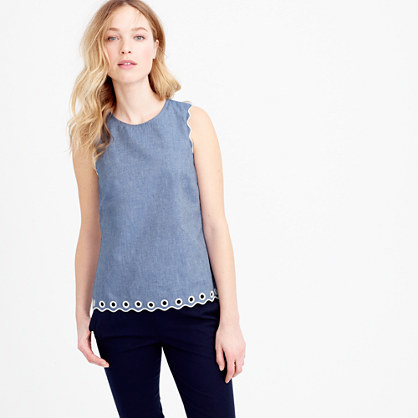 Chambray Scalloped Top With Grommets - pattern: plain; sleeve style: sleeveless; predominant colour: denim; occasions: casual, creative work; length: standard; style: top; fibres: cotton - 100%; fit: straight cut; neckline: crew; sleeve length: sleeveless; pattern type: fabric; texture group: woven light midweight; season: s/s 2016