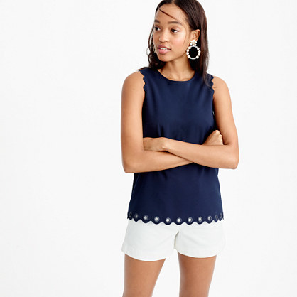 Petite Scalloped Top With Grommets - pattern: plain; sleeve style: sleeveless; predominant colour: navy; occasions: casual, creative work; length: standard; style: top; fibres: polyester/polyamide - stretch; fit: straight cut; neckline: crew; sleeve length: sleeveless; texture group: crepes; pattern type: fabric; season: s/s 2016; wardrobe: basic