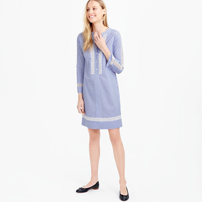 Striped Shirtdress With Geometric Lace - style: tunic; secondary colour: white; predominant colour: pale blue; occasions: casual; length: just above the knee; fit: straight cut; neckline: collarstand & mandarin with v-neck; fibres: cotton - 100%; sleeve length: 3/4 length; sleeve style: standard; texture group: cotton feel fabrics; pattern type: fabric; pattern size: standard; pattern: patterned/print; embellishment: embroidered; season: s/s 2016; wardrobe: highlight; embellishment location: bust
