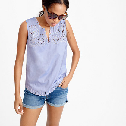 Tall Embroidered Circles Sleeveless Top In French Blue - neckline: v-neck; pattern: plain; sleeve style: sleeveless; style: vest top; predominant colour: pale blue; occasions: casual; length: standard; fibres: cotton - 100%; fit: body skimming; sleeve length: sleeveless; pattern type: fabric; texture group: other - light to midweight; embellishment: embroidered; season: s/s 2016; wardrobe: highlight