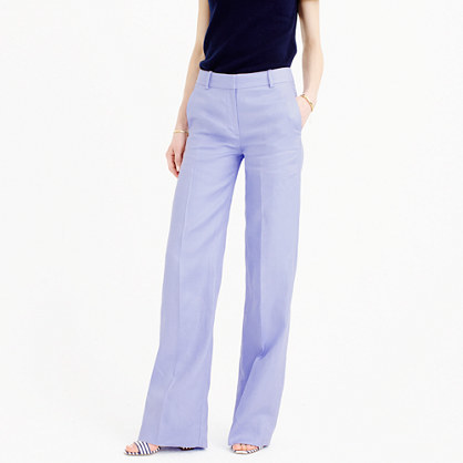 Full Length Linen Pant - length: standard; pattern: plain; waist: mid/regular rise; predominant colour: lilac; occasions: casual, evening, creative work; fibres: linen - 100%; texture group: linen; fit: wide leg; pattern type: fabric; style: standard; season: s/s 2016; wardrobe: highlight