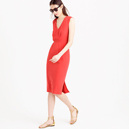 Sleeveless Silk Dress - style: shift; neckline: low v-neck; fit: tailored/fitted; pattern: plain; sleeve style: sleeveless; predominant colour: true red; length: on the knee; fibres: silk - mix; occasions: occasion, creative work; hip detail: slits at hip; sleeve length: sleeveless; texture group: crepes; pattern type: fabric; season: s/s 2016; wardrobe: highlight