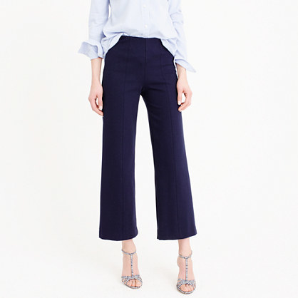 Petite Wide Leg Ponte Pant - pattern: plain; waist: high rise; predominant colour: navy; occasions: casual, creative work; length: calf length; fibres: cotton - stretch; texture group: cotton feel fabrics; fit: straight leg; pattern type: fabric; style: standard; season: s/s 2016; wardrobe: basic