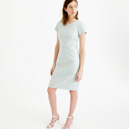 Short Sleeve Dress In Multi Tweed - style: shift; neckline: round neck; fit: tailored/fitted; predominant colour: pale blue; length: on the knee; fibres: acrylic - mix; occasions: occasion; sleeve length: short sleeve; sleeve style: standard; pattern type: fabric; pattern size: standard; pattern: patterned/print; texture group: other - light to midweight; multicoloured: multicoloured; season: s/s 2016; wardrobe: event