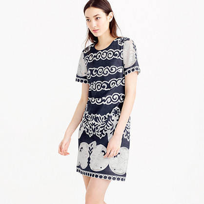 Short Sleeve Shift Dress In Ornate Lace - style: shift; length: mid thigh; neckline: round neck; predominant colour: navy; secondary colour: navy; fit: body skimming; fibres: cotton - mix; sleeve length: short sleeve; sleeve style: standard; pattern type: fabric; pattern size: standard; pattern: patterned/print; texture group: other - light to midweight; occasions: creative work; season: s/s 2016; wardrobe: highlight