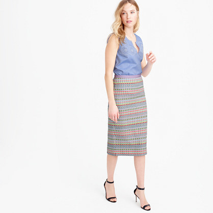 Collection Neon And Metallic Tweed Pencil Skirt - length: calf length; style: pencil; fit: body skimming; waist: mid/regular rise; predominant colour: pale blue; secondary colour: bright orange; occasions: casual; fibres: acrylic - mix; pattern type: fabric; texture group: woven light midweight; pattern: horizontal stripes (bottom); multicoloured: multicoloured; season: s/s 2016