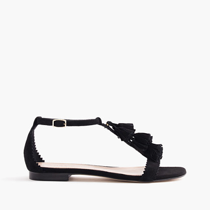 Suede Tassel Sandals - predominant colour: black; occasions: casual, creative work; material: suede; heel height: flat; embellishment: tassels; heel: standard; toe: open toe/peeptoe; style: standard; finish: plain; pattern: plain; season: s/s 2016; wardrobe: highlight