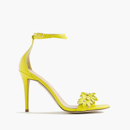 Leather Flower High Heel Ankle Strap Sandals - predominant colour: yellow; occasions: casual; material: leather; heel height: high; embellishment: embroidered; ankle detail: ankle strap; heel: stiletto; toe: open toe/peeptoe; style: strappy; finish: plain; pattern: plain; season: s/s 2016; wardrobe: highlight