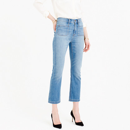 Billie Patch Pocket Demi Boot Crop Jean In Torrey Wash - style: bootcut; pattern: plain; waist: mid/regular rise; predominant colour: denim; occasions: casual; length: ankle length; fibres: cotton - stretch; texture group: denim; pattern type: fabric; season: s/s 2016; wardrobe: basic
