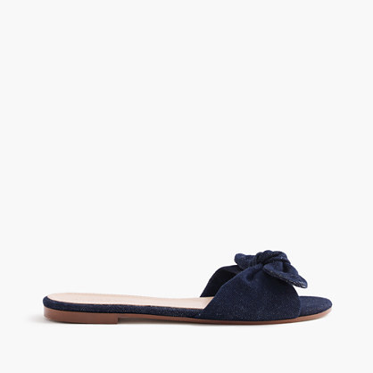 Denim Knotted Fabric Slides - predominant colour: navy; occasions: casual; material: fabric; heel height: flat; heel: standard; toe: open toe/peeptoe; style: slides; finish: plain; pattern: plain; embellishment: bow; season: s/s 2016; wardrobe: highlight