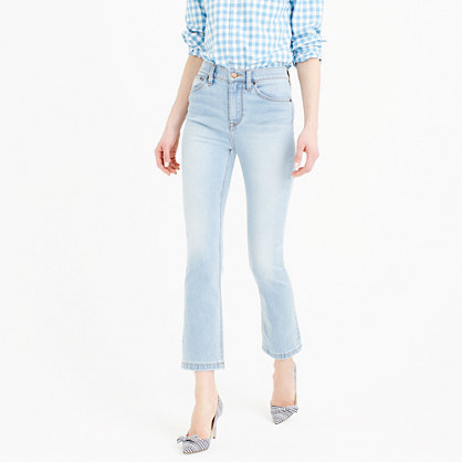 Billie Demi Boot Crop Jean In Mayfair Wash - style: bootcut; pattern: plain; pocket detail: traditional 5 pocket; waist: mid/regular rise; predominant colour: pale blue; occasions: casual; length: ankle length; fibres: cotton - stretch; jeans detail: shading down centre of thigh; texture group: denim; pattern type: fabric; season: s/s 2016; wardrobe: basic