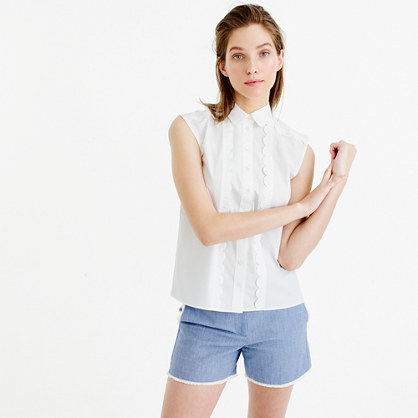 Sleeveless Scalloped Shirt - neckline: shirt collar/peter pan/zip with opening; sleeve style: capped; pattern: plain; style: shirt; predominant colour: white; occasions: casual; length: standard; fibres: cotton - 100%; fit: body skimming; sleeve length: short sleeve; pattern type: fabric; texture group: other - light to midweight; season: s/s 2016; wardrobe: basic