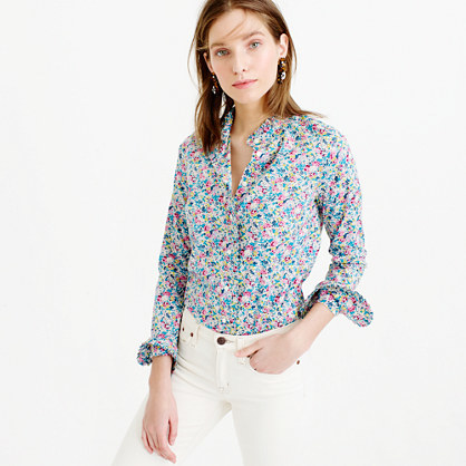 Ruffle Button Up Shirt In Liberty Art Fabrics Claire Aude Floral - neckline: shirt collar/peter pan/zip with opening; style: shirt; secondary colour: pink; predominant colour: diva blue; occasions: casual, creative work; length: standard; fibres: cotton - mix; fit: body skimming; sleeve length: long sleeve; sleeve style: standard; texture group: cotton feel fabrics; pattern type: fabric; pattern: florals; pattern size: big & busy (top); multicoloured: multicoloured; season: s/s 2016; wardrobe: highlight