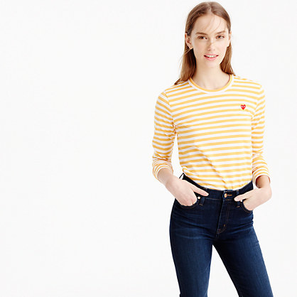 Comme Des Gar Ons® Striped Heart T Shirt - neckline: round neck; pattern: horizontal stripes; style: t-shirt; secondary colour: white; predominant colour: yellow; occasions: casual, creative work; length: standard; fibres: cotton - 100%; fit: body skimming; sleeve length: 3/4 length; sleeve style: standard; pattern type: fabric; texture group: jersey - stretchy/drapey; pattern size: big & busy (top); season: s/s 2016; wardrobe: highlight