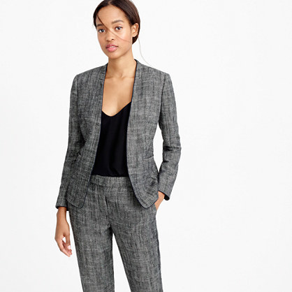 Tipped Collarless Jacket In Textured Herringbone - style: single breasted blazer; collar: round collar/collarless; pattern: herringbone/tweed; secondary colour: white; predominant colour: mid grey; length: standard; fit: tailored/fitted; fibres: wool - mix; sleeve length: long sleeve; sleeve style: standard; trends: monochrome; collar break: low/open; pattern type: fabric; pattern size: standard; texture group: woven light midweight; occasions: creative work; season: s/s 2016; wardrobe: investment