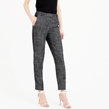 Cropped Pant In Textured Herringbone - waist: high rise; pattern: herringbone/tweed; predominant colour: navy; length: ankle length; fibres: linen - mix; fit: straight leg; pattern type: fabric; texture group: woven light midweight; style: standard; occasions: creative work; season: s/s 2016; wardrobe: highlight