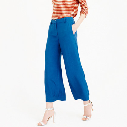 Drapey Wide Leg Pant - pattern: plain; waist: high rise; predominant colour: denim; occasions: casual, creative work; length: ankle length; fibres: linen - mix; fit: wide leg; pattern type: fabric; texture group: other - light to midweight; style: standard; season: s/s 2016; wardrobe: highlight