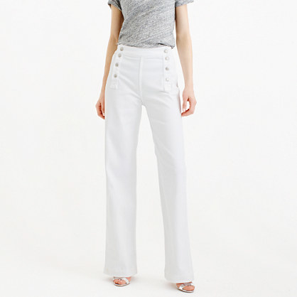 Point Sur Sailor Jean In White - length: standard; pattern: plain; waist: mid/regular rise; style: wide leg; predominant colour: white; occasions: casual; fibres: cotton - 100%; texture group: denim; pattern type: fabric; season: s/s 2016; wardrobe: highlight
