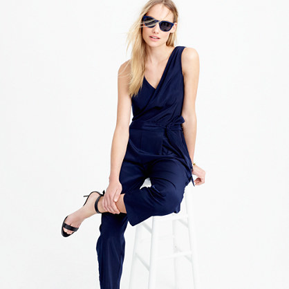 Cropped Wide Leg Jumpsuit - neckline: v-neck; fit: loose; pattern: plain; sleeve style: sleeveless; waist detail: belted waist/tie at waist/drawstring; predominant colour: navy; occasions: evening; length: ankle length; fibres: polyester/polyamide - 100%; sleeve length: sleeveless; style: jumpsuit; pattern type: fabric; texture group: other - light to midweight; season: s/s 2016; wardrobe: event