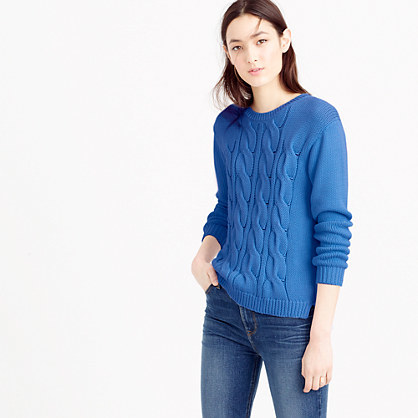 Cotton Cable Sweater - style: standard; pattern: cable knit; predominant colour: royal blue; occasions: casual; length: standard; fibres: cotton - mix; fit: standard fit; neckline: crew; sleeve length: long sleeve; sleeve style: standard; texture group: knits/crochet; pattern type: knitted - other; pattern size: standard; season: s/s 2016; wardrobe: highlight