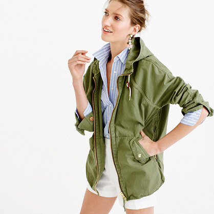 Convertible Zip Anorak Jacket - pattern: plain; collar: funnel; length: below the bottom; back detail: hood; predominant colour: khaki; occasions: casual, creative work; fit: straight cut (boxy); fibres: cotton - 100%; sleeve length: long sleeve; sleeve style: standard; collar break: high; pattern type: fabric; texture group: other - light to midweight; style: single breasted military jacket; season: s/s 2016; wardrobe: basic