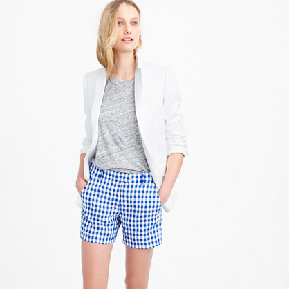 Lightweight Short In Gingham Linen - pattern: checked/gingham; waist: mid/regular rise; secondary colour: white; predominant colour: royal blue; occasions: casual; fibres: linen - 100%; texture group: linen; pattern type: fabric; pattern size: standard (bottom); season: s/s 2016; style: shorts; length: short shorts; fit: slim leg; wardrobe: highlight