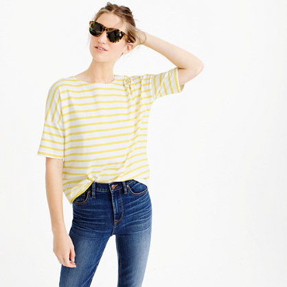 Saint James® For Short Sleeve Slouchy T Shirt - pattern: striped; style: t-shirt; predominant colour: white; secondary colour: primrose yellow; occasions: casual; length: standard; fibres: cotton - 100%; fit: loose; neckline: crew; sleeve length: short sleeve; sleeve style: standard; pattern type: fabric; texture group: jersey - stretchy/drapey; multicoloured: multicoloured; season: s/s 2016