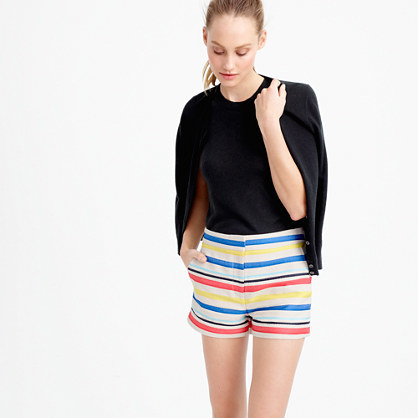 Colorful Jacquard Striped Short - waist: mid/regular rise; predominant colour: diva blue; secondary colour: primrose yellow; occasions: casual; fibres: cotton - mix; pattern type: fabric; texture group: brocade/jacquard; pattern size: standard (bottom); pattern: horizontal stripes (bottom); multicoloured: multicoloured; season: s/s 2016; style: shorts; length: short shorts; fit: slim leg; wardrobe: highlight