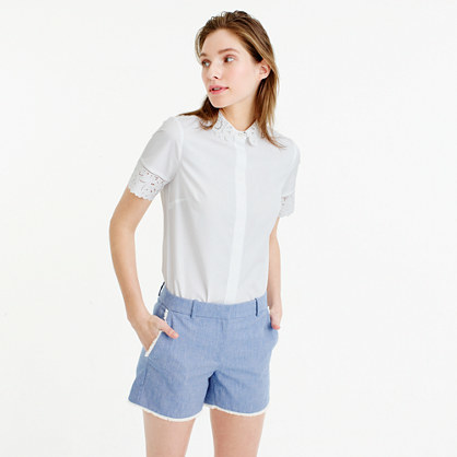 Frayed Chambray Short - pattern: plain; waist: mid/regular rise; predominant colour: pale blue; occasions: casual; fibres: cotton - 100%; pattern type: fabric; texture group: other - light to midweight; season: s/s 2016; style: shorts; length: short shorts; fit: slim leg