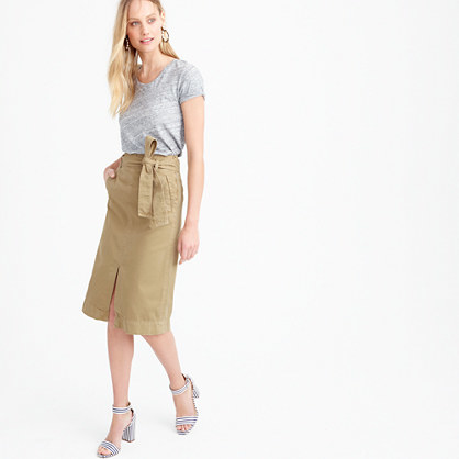 Tie Waist Midi Skirt In Chino - pattern: plain; style: straight; fit: body skimming; waist detail: belted waist/tie at waist/drawstring; waist: mid/regular rise; predominant colour: camel; occasions: casual; length: on the knee; fibres: cotton - 100%; texture group: cotton feel fabrics; pattern type: fabric; season: s/s 2016; wardrobe: basic