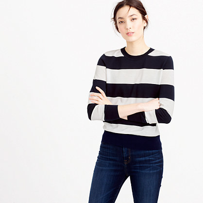 Summerweight Sweater In Stripe - pattern: horizontal stripes; style: standard; secondary colour: white; predominant colour: black; occasions: casual; length: standard; fibres: cotton - 100%; fit: slim fit; neckline: crew; sleeve length: long sleeve; sleeve style: standard; texture group: knits/crochet; pattern type: fabric; multicoloured: multicoloured; season: s/s 2016