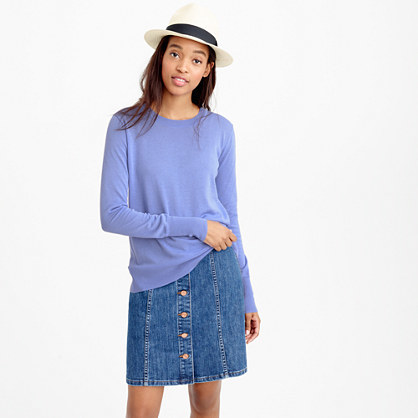 Summerweight Sweater - pattern: plain; style: standard; predominant colour: pale blue; occasions: casual; length: standard; fibres: cotton - 100%; fit: standard fit; neckline: crew; sleeve length: long sleeve; sleeve style: standard; texture group: knits/crochet; pattern type: fabric; season: s/s 2016; wardrobe: highlight