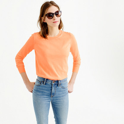 Summerweight Sweater In Neon - pattern: plain; style: standard; predominant colour: coral; occasions: casual; length: standard; fibres: polyester/polyamide - 100%; fit: slim fit; neckline: crew; sleeve length: long sleeve; sleeve style: standard; texture group: knits/crochet; pattern type: fabric; season: s/s 2016; wardrobe: highlight