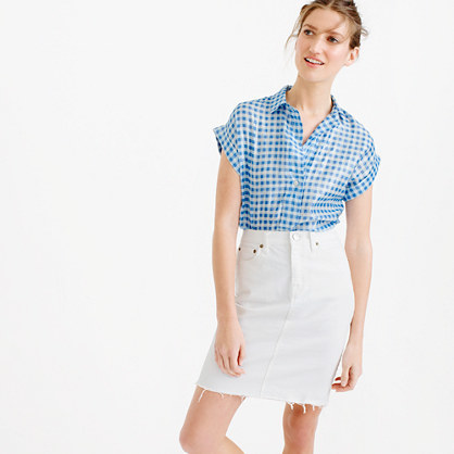 Short Sleeve Popover Shirt In Metallic Gingham - neckline: shirt collar/peter pan/zip with opening; pattern: checked/gingham; style: shirt; secondary colour: white; predominant colour: diva blue; occasions: casual; length: standard; fibres: polyester/polyamide - stretch; fit: body skimming; sleeve length: short sleeve; sleeve style: standard; pattern type: fabric; texture group: other - light to midweight; multicoloured: multicoloured; season: s/s 2016; wardrobe: highlight