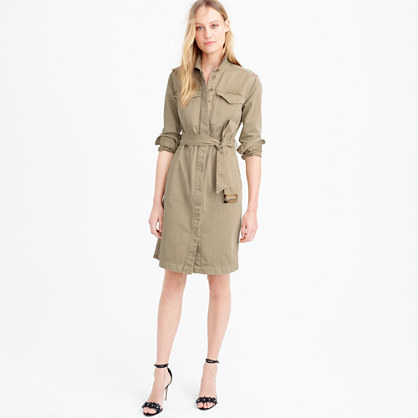 Petite Belted Chino Shirtdress - style: shirt; neckline: shirt collar/peter pan/zip with opening; pattern: plain; waist detail: belted waist/tie at waist/drawstring; predominant colour: khaki; occasions: casual; length: on the knee; fit: body skimming; fibres: cotton - 100%; sleeve length: 3/4 length; sleeve style: standard; texture group: cotton feel fabrics; pattern type: fabric; season: s/s 2016