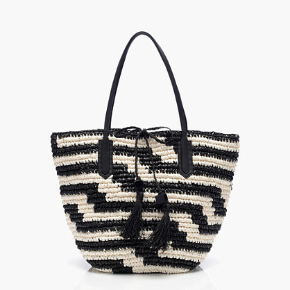 Farmer's Market Tote In Geometric Stripe - secondary colour: white; predominant colour: black; occasions: casual, creative work; type of pattern: light; style: shoulder; length: shoulder (tucks under arm); size: oversized; material: macrame/raffia/straw; embellishment: tassels; pattern: striped; finish: plain; season: s/s 2016; wardrobe: highlight