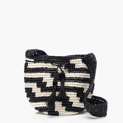 Woven Drawstring Bag In Geometric Stripe - secondary colour: ivory/cream; predominant colour: black; occasions: casual; type of pattern: heavy; style: messenger; length: across body/long; size: small; material: macrame/raffia/straw; pattern: striped; finish: plain; season: s/s 2016; wardrobe: highlight