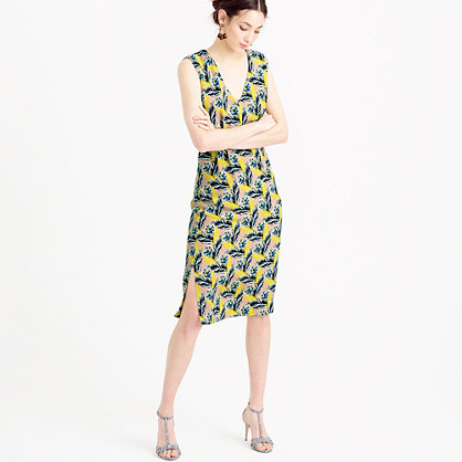 Sleeveless Silk Dress In Spring Meadow - style: shift; neckline: low v-neck; sleeve style: sleeveless; secondary colour: navy; predominant colour: primrose yellow; occasions: evening; length: on the knee; fit: body skimming; fibres: silk - 100%; sleeve length: sleeveless; pattern type: fabric; pattern: florals; texture group: other - light to midweight; multicoloured: multicoloured; season: s/s 2016; wardrobe: event