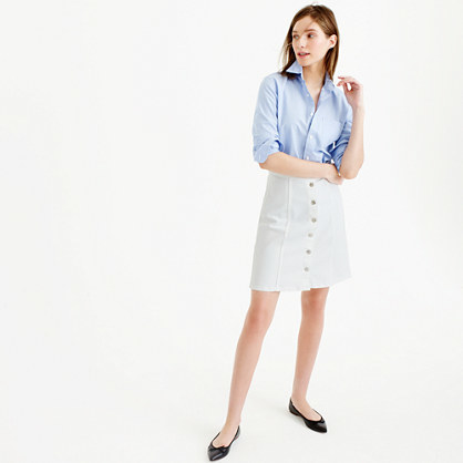 Button Front White Denim Mini Skirt - pattern: plain; style: pencil; fit: tailored/fitted; waist: high rise; predominant colour: pale blue; occasions: casual; length: just above the knee; fibres: cotton - 100%; texture group: denim; pattern type: fabric; season: s/s 2016