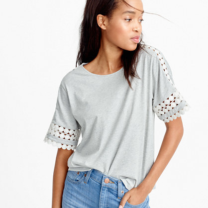 Embroidered Top - neckline: round neck; pattern: plain; predominant colour: light grey; occasions: casual; length: standard; style: top; fibres: cotton - mix; fit: body skimming; sleeve length: short sleeve; sleeve style: standard; pattern type: fabric; texture group: jersey - stretchy/drapey; embellishment: lace; season: s/s 2016; wardrobe: highlight