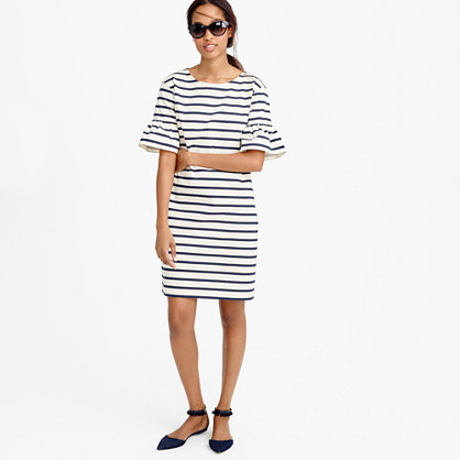 Ruffled Bell Sleeve Shift Dress In Stripe - style: shift; sleeve style: bell sleeve; pattern: horizontal stripes; predominant colour: white; secondary colour: navy; occasions: casual; length: just above the knee; fit: body skimming; fibres: cotton - 100%; neckline: crew; sleeve length: half sleeve; pattern type: fabric; texture group: jersey - stretchy/drapey; multicoloured: multicoloured; season: s/s 2016; wardrobe: basic