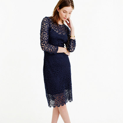 Collection Lace Sheath Dress - style: shift; length: below the knee; bust detail: sheer at bust; predominant colour: navy; occasions: evening; fit: body skimming; fibres: polyester/polyamide - 100%; neckline: crew; sleeve length: 3/4 length; sleeve style: standard; texture group: lace; pattern type: fabric; pattern size: standard; pattern: patterned/print; season: s/s 2016