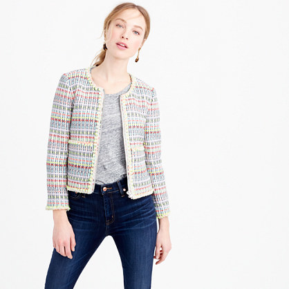 Collection Neon Tweed Jacket - collar: round collar/collarless; style: boxy; pattern: herringbone/tweed; predominant colour: ivory/cream; secondary colour: pale blue; occasions: casual; length: standard; fit: straight cut (boxy); fibres: acrylic - mix; sleeve length: long sleeve; sleeve style: standard; collar break: low/open; pattern type: fabric; texture group: tweed - light/midweight; multicoloured: multicoloured; season: s/s 2016; wardrobe: highlight
