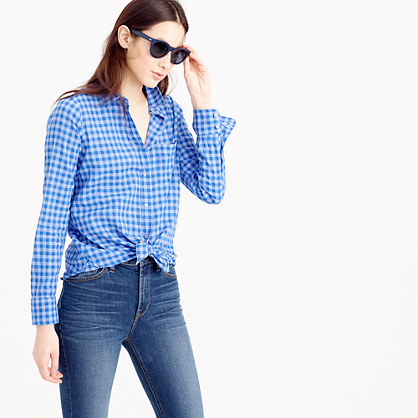 Tall Boy Shirt In Two Tone Crinkle Gingham - neckline: shirt collar/peter pan/zip with opening; pattern: checked/gingham; style: shirt; secondary colour: white; predominant colour: diva blue; occasions: casual; length: standard; fibres: cotton - stretch; fit: body skimming; sleeve length: long sleeve; sleeve style: standard; texture group: cotton feel fabrics; pattern type: fabric; multicoloured: multicoloured; season: s/s 2016
