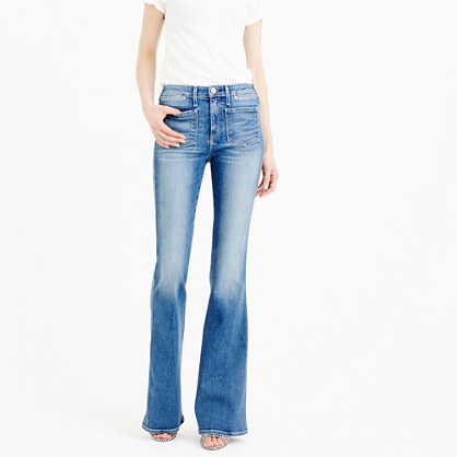 Mcguire™ Inez Patch Flare Jean In Indigo - style: flares; length: standard; pattern: plain; waist: mid/regular rise; predominant colour: denim; occasions: casual; fibres: cotton - stretch; jeans detail: whiskering, shading down centre of thigh; texture group: denim; pattern type: fabric; season: s/s 2016; wardrobe: basic