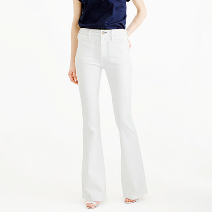 Mcguire™ Inez Patch Flare Jean In White - style: flares; length: standard; pattern: plain; waist: mid/regular rise; predominant colour: white; occasions: casual; fibres: cotton - stretch; texture group: denim; pattern type: fabric; season: s/s 2016; wardrobe: highlight