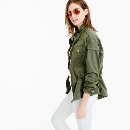 Mc Guire™ Army Jacket - pattern: plain; fit: loose; length: below the bottom; collar: high neck; predominant colour: khaki; occasions: casual, creative work; fibres: cotton - mix; waist detail: belted waist/tie at waist/drawstring; sleeve length: long sleeve; sleeve style: standard; texture group: cotton feel fabrics; collar break: high; pattern type: fabric; style: single breasted military jacket; season: s/s 2016; wardrobe: basic