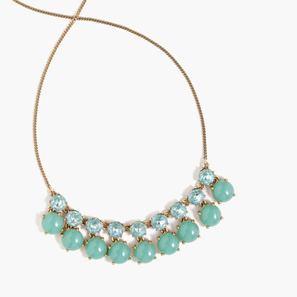 Tonal Crystal Necklace - predominant colour: turquoise; secondary colour: gold; occasions: evening, occasion; style: standard; length: mid; size: standard; material: chain/metal; finish: metallic; embellishment: jewels/stone; season: s/s 2016; wardrobe: event