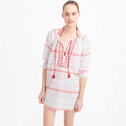 Embroidered Striped Tunic - neckline: shirt collar/peter pan/zip with opening; pattern: horizontal stripes; style: tunic; predominant colour: white; secondary colour: pink; occasions: casual; fibres: cotton - 100%; fit: body skimming; length: mid thigh; sleeve length: 3/4 length; sleeve style: standard; texture group: cotton feel fabrics; pattern type: fabric; embellishment: embroidered; multicoloured: multicoloured; season: s/s 2016; wardrobe: highlight