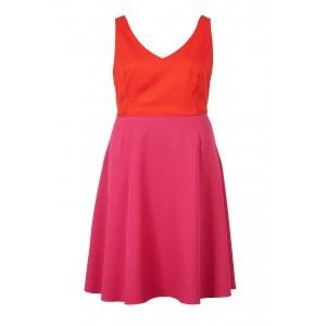 Crepe Tailoring V Neck Swing Dress - length: mid thigh; neckline: v-neck; sleeve style: sleeveless; secondary colour: hot pink; predominant colour: bright orange; occasions: casual; fit: fitted at waist & bust; style: fit & flare; fibres: polyester/polyamide - 100%; sleeve length: sleeveless; pattern type: fabric; pattern: colourblock; texture group: other - light to midweight; multicoloured: multicoloured; season: s/s 2016; wardrobe: highlight
